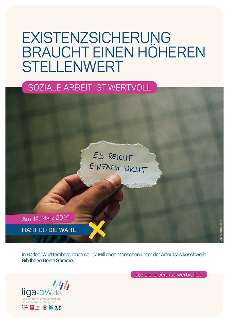 In Baden-Württemberg leben ca. 1,7 Millionen Menschen unter der Armutsrisikoschwelle.
